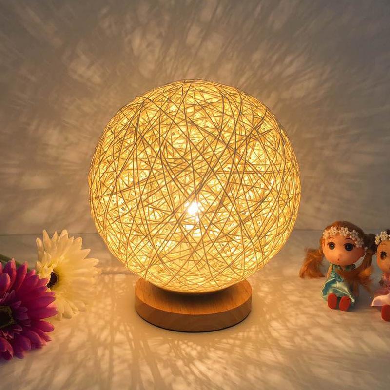 Rattan Ball Night Light Настольная кровать Лампа Спальня Home Decor Valentine Gift