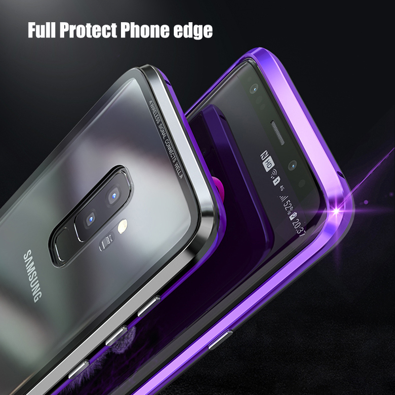new concept cf622 ed027 Bakeey Magnetic Adsorption Metal Clear Glass Protective Case for Samsung  Galaxy S9/S9 Plus