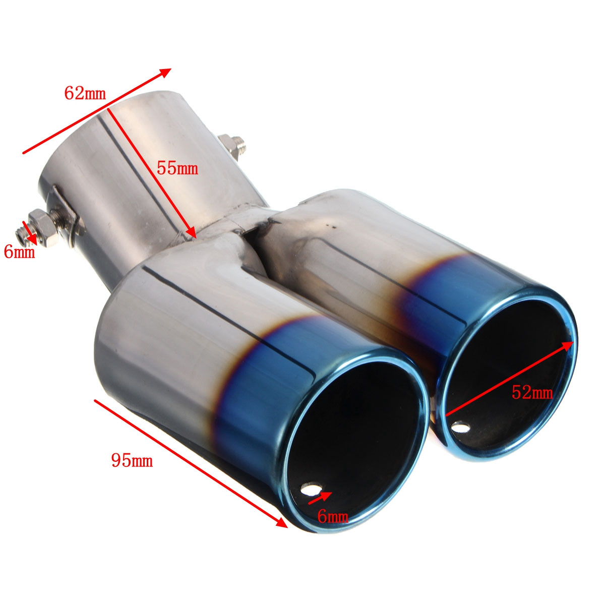 Car Vhielce Twins Curved Exhaust Tail Tip Pipe Muffler Silencer Stainless Steel
