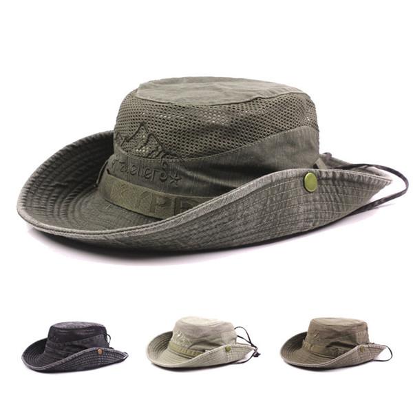 18d9525ab86c32 mens cotton embroidery bucket hats outdoor fisherman hat at Banggood