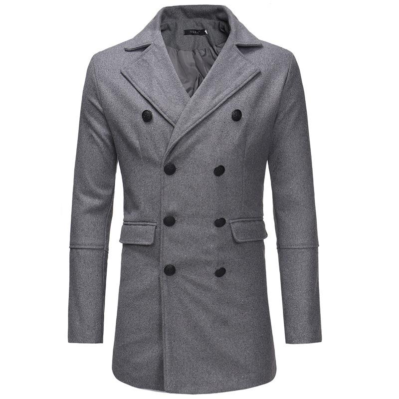Мужскаяпосадкаизшерстянойдвубортнойсредней длины пальто