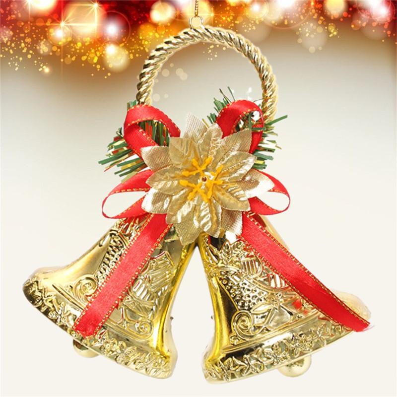 Рождество Бантом Двойной Колокол Xmas Tree Орнамент Кулон Двери Висячие Украшения