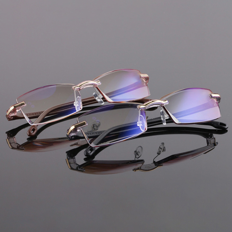 Unisex New Frameless Resin Anti-blue Reading Glasses