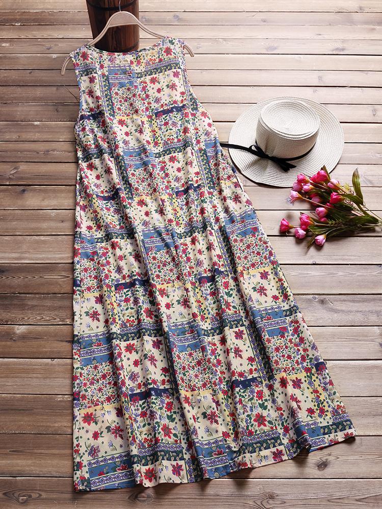 Women Vintage Floral Print O-neck Sleeveless Maxi Dress