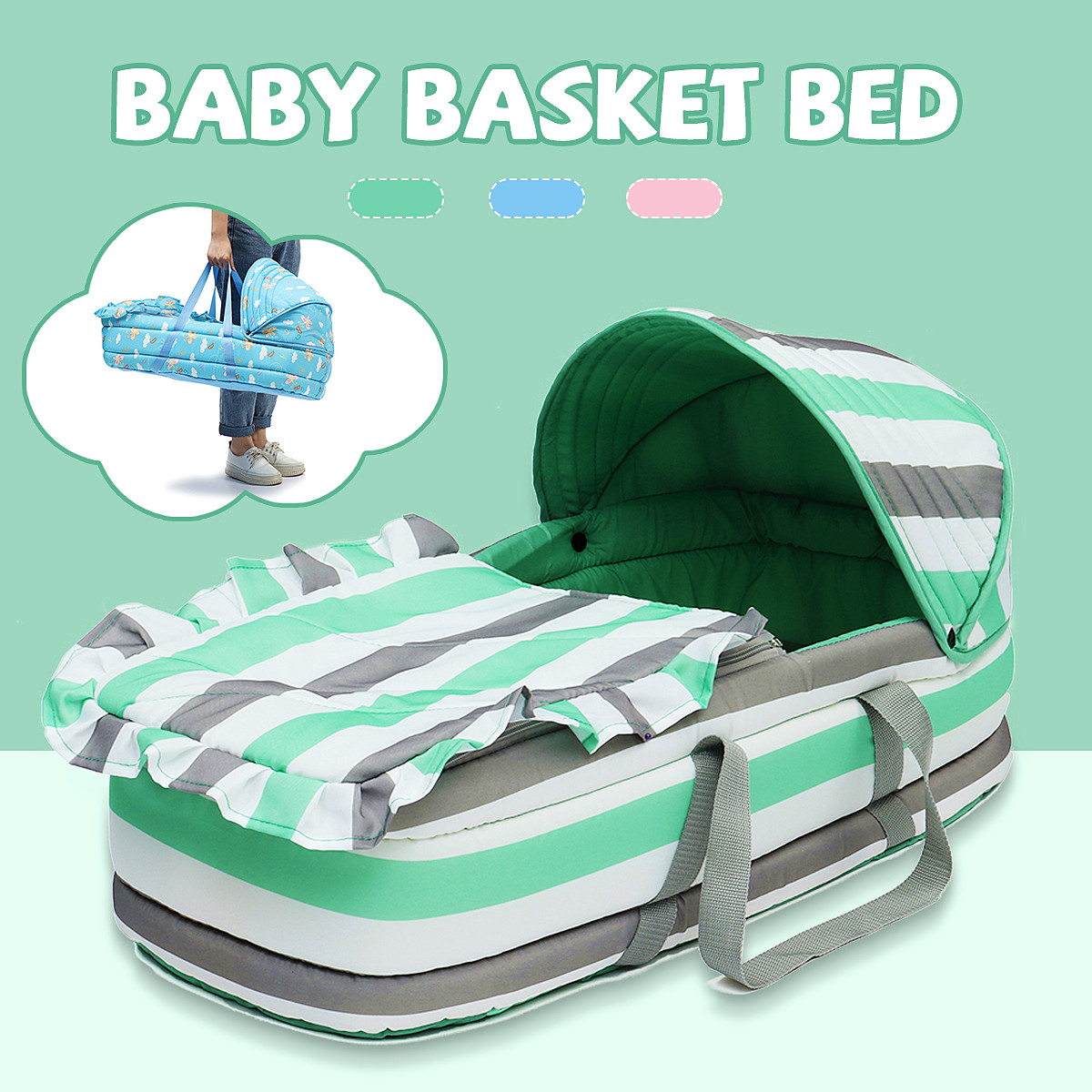 Portable Newborn Baby Infant Moses Basket Bed Baby Cradle Bassinet Travel Comfortable