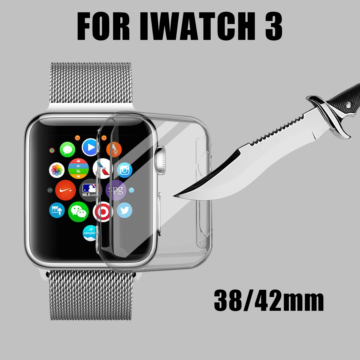 38/42mm Thin Clear Front Case Cover Screen Protector for iWatch Series 3