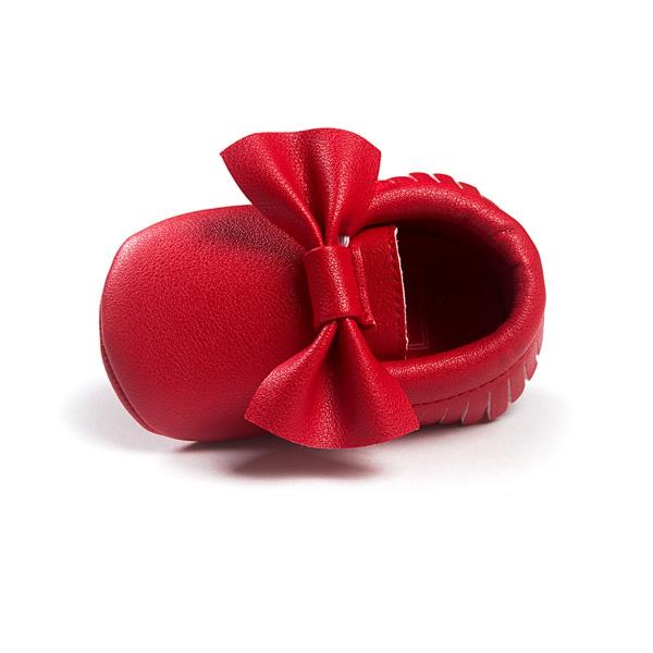 Ребенок Bowknot кисточкой чистый цвет дышащие мягкой подошве первая обувь для ходьбы