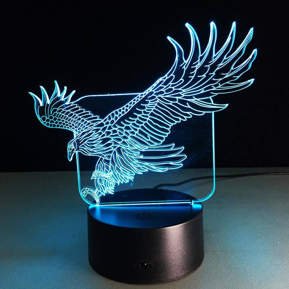 Fly Eagle USB 3D LED Свет Colorful Touch Night Light Рождественский подарок