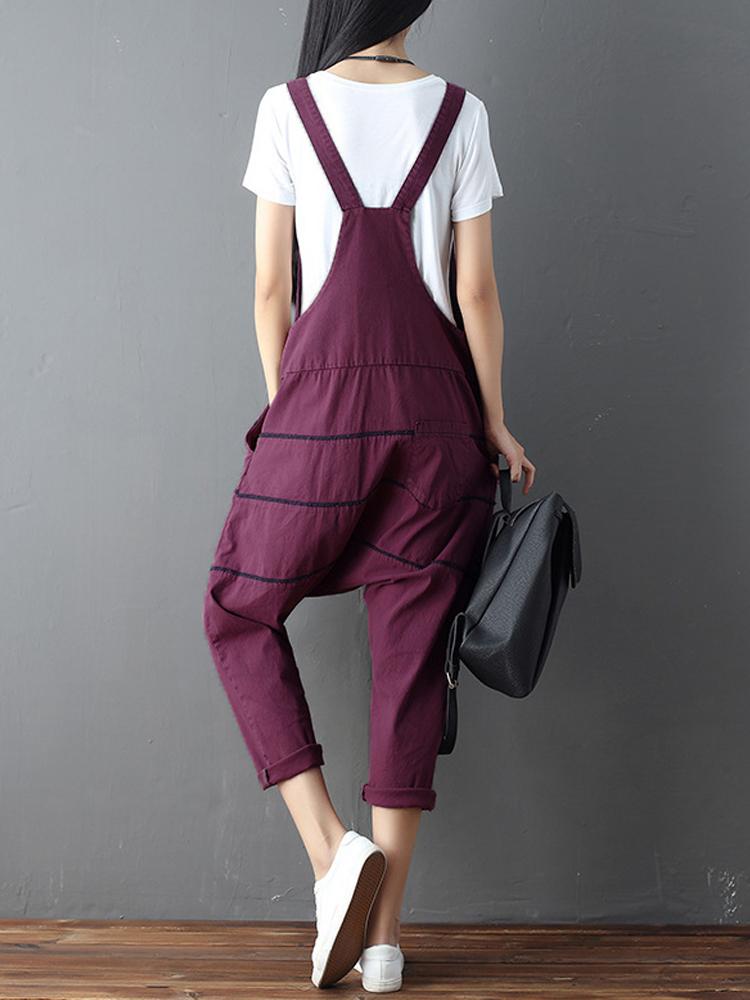Women Strappy Cotton Linen Loose Harem Overalls Jumpsuit