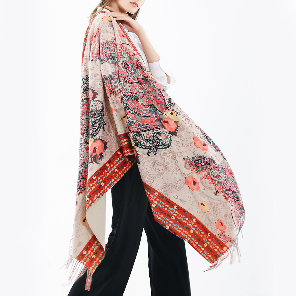 180*65CM Women Vintage Ethnic Style Artificial Cashmere Flower Pattern Scarf with Tassel