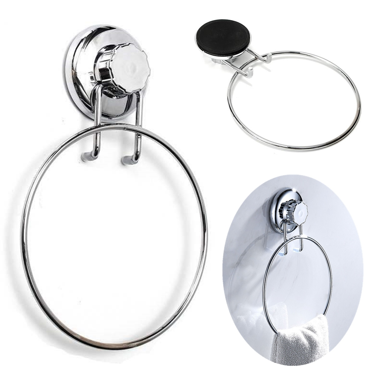 Towel Ring Holder Chrome No-Drilling Suction Cup Bathro