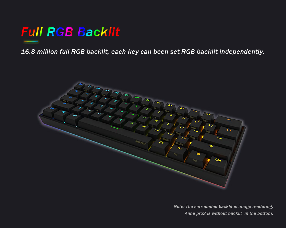 [Gateron Switch]Anne Pro 2 60% NKRO bluetooth 4 0 Type-C RGB Mechanical  Gaming Keyboard