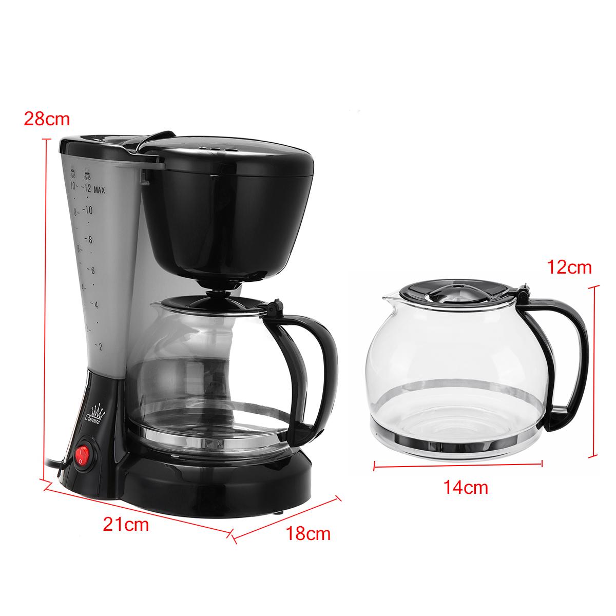 1.2L Electric Drip Coffee Tea Espresso Maker Automatic Filter Machine 10-12 Cups Coffee Machine 24