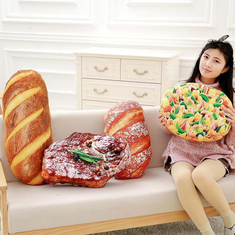 Creative Simulational Plush Bread Steak Pizza Shape Pillow Plush Nap Cushion Birthday Gift