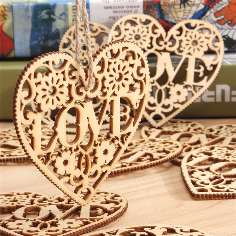 10шт сердце любовь поделки дерева ремесло висит украшение судов подарок