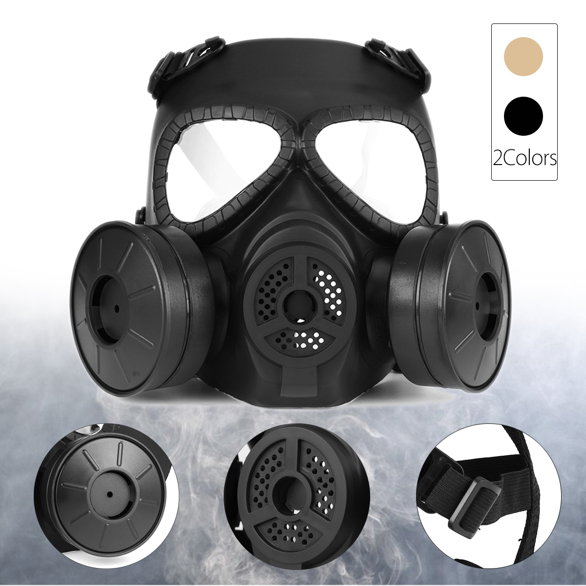 Breathable Gas Mask Double Filter Fan CS Edition Perspiration Dust Face Guard 13