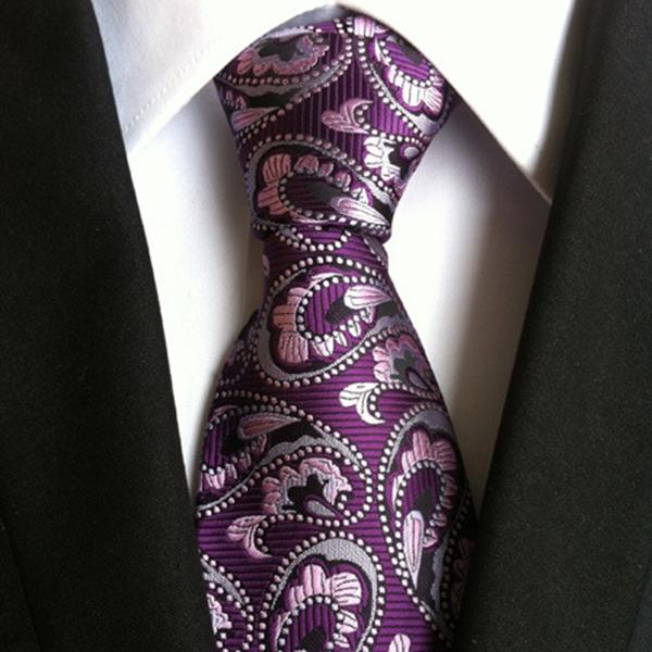 Men Business Retro Jacquard Lattice Tie Party Formal Re