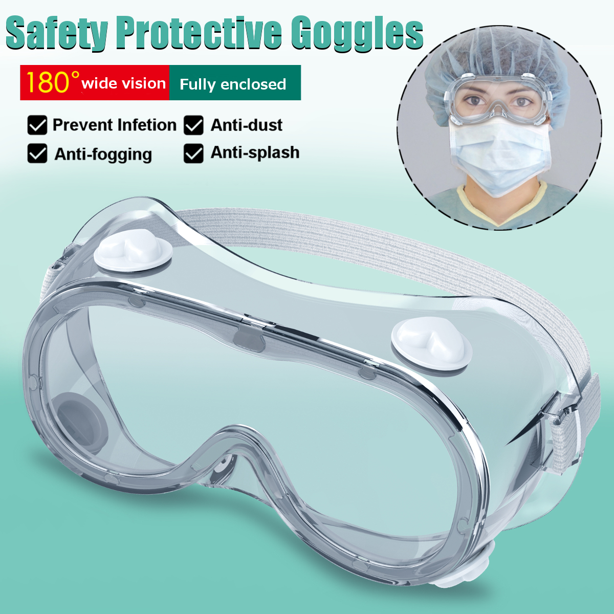 Safety Goggles Anti Fog Dust Proof Prevent Infection Eye Mask Scratch Resistant Protector Transparent