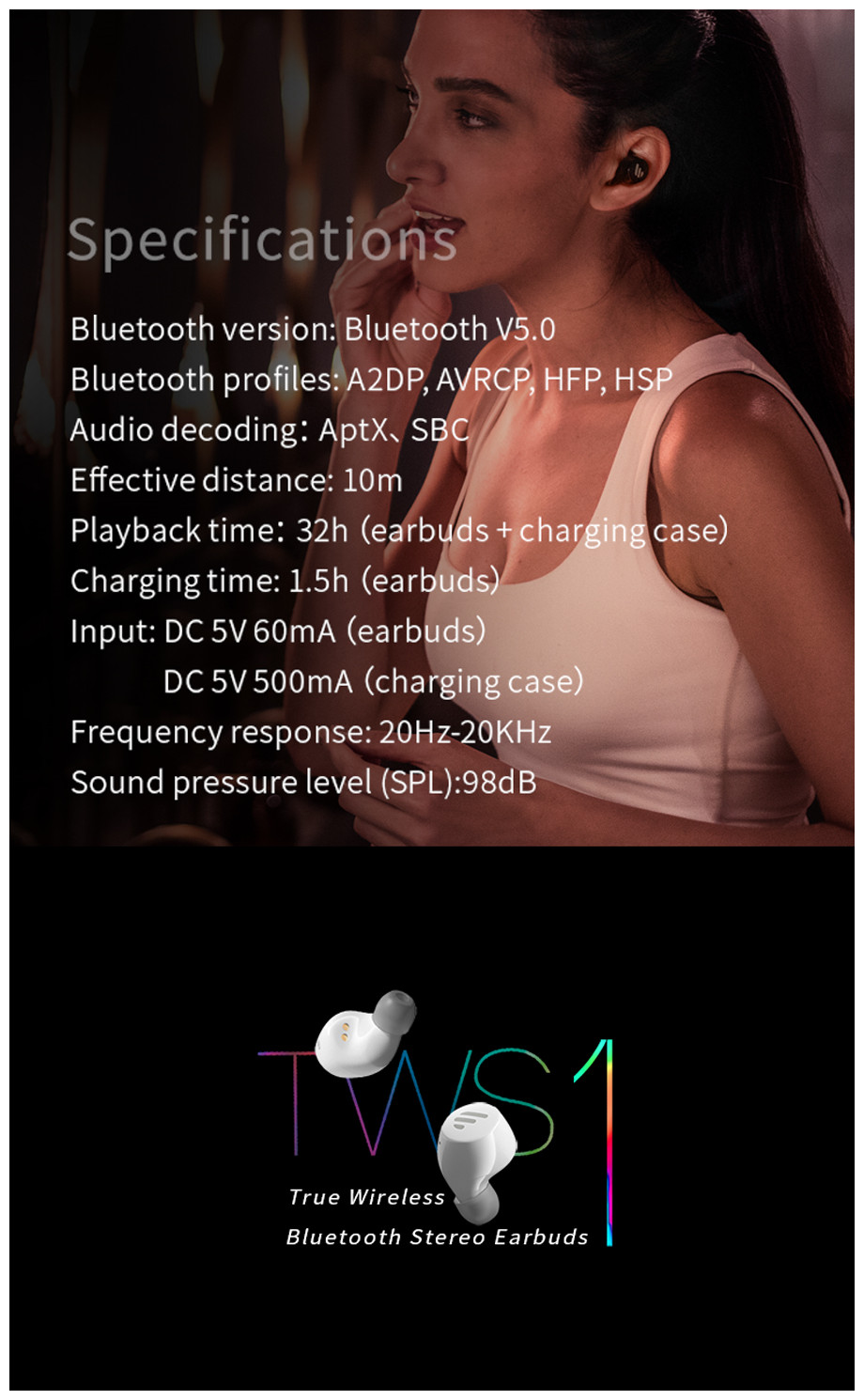 EDIFIER TWS1 bluetooth V5.0 True Wireless Stereo Earbuds Touch Control IPX5 Waterproof Earphone Headphone Support APTX