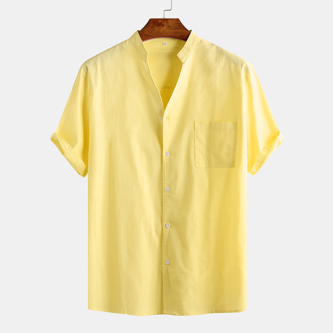 Men's Solid Color Pocket Summer Casual Stand Collar Shi