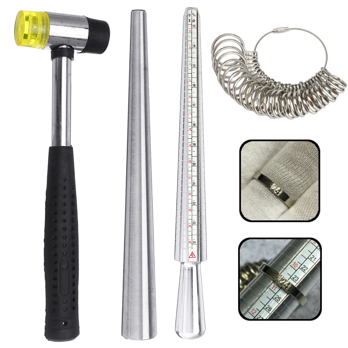 Ring Sizer Mandrel Jewelers Rubber Hammers Ring Mandrel
