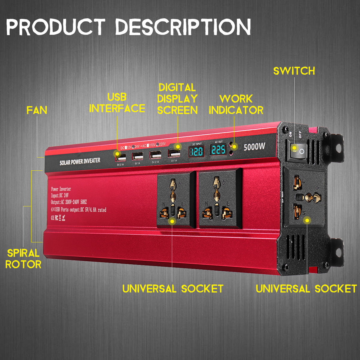 5000W Peak Solar Power Inverter DC 12V/24V To AC 110V/220V Modified Sine Wave Converter