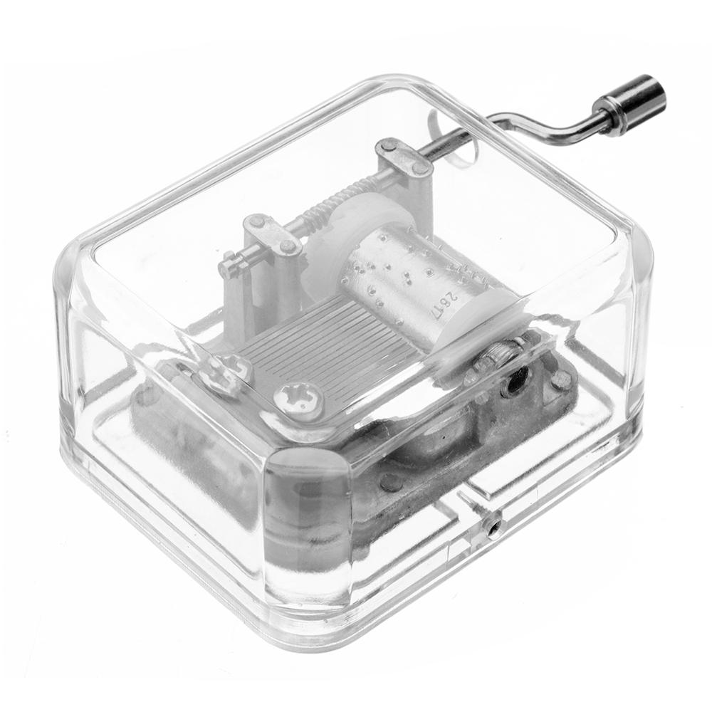 Mrosaa Hand-cranking Mini Transparent Acrylic Music Коробка Подарочный подарок на день рождения