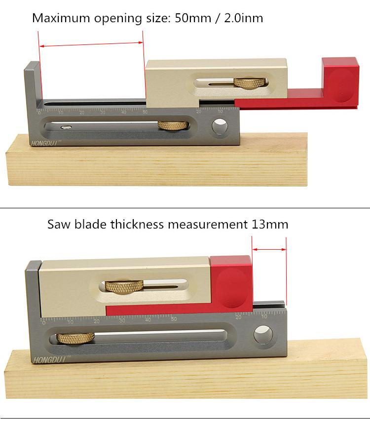 7ca28f6f c587 4521 8518 18cf63938ea7 HONGDUI Kerfmaker Table Saw Slot Adjuster Mortise and Tenon Tool Woodworking Movable Measuring Block