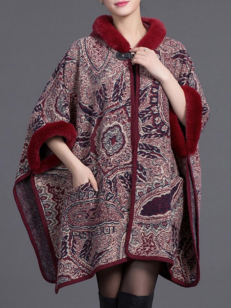Женское Плащ платок с капюшоном Печать Batwing рукавом кардиган пальто