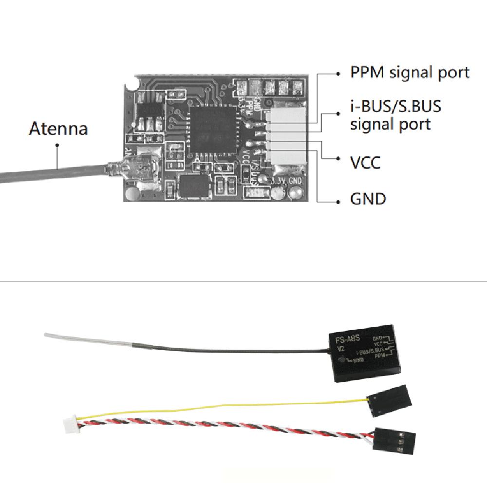 Flysky FS-A8S FS A8S V2 2 4G 8CH Mini Receiver with PPM i-BUS SBUS Output