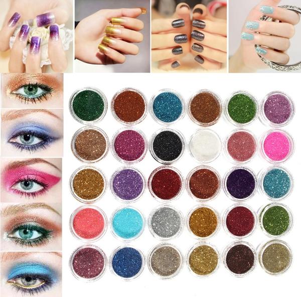 30 цветов про макияж порошок блеск тени для век пигмент тени глаза косметический лак для искусства DIY