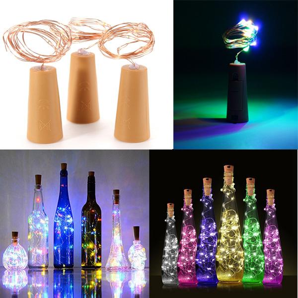 200CM Батарея Powered Cork Медь Провод LED Винная бутылка HoliDay Light Лампа для Xmas Party