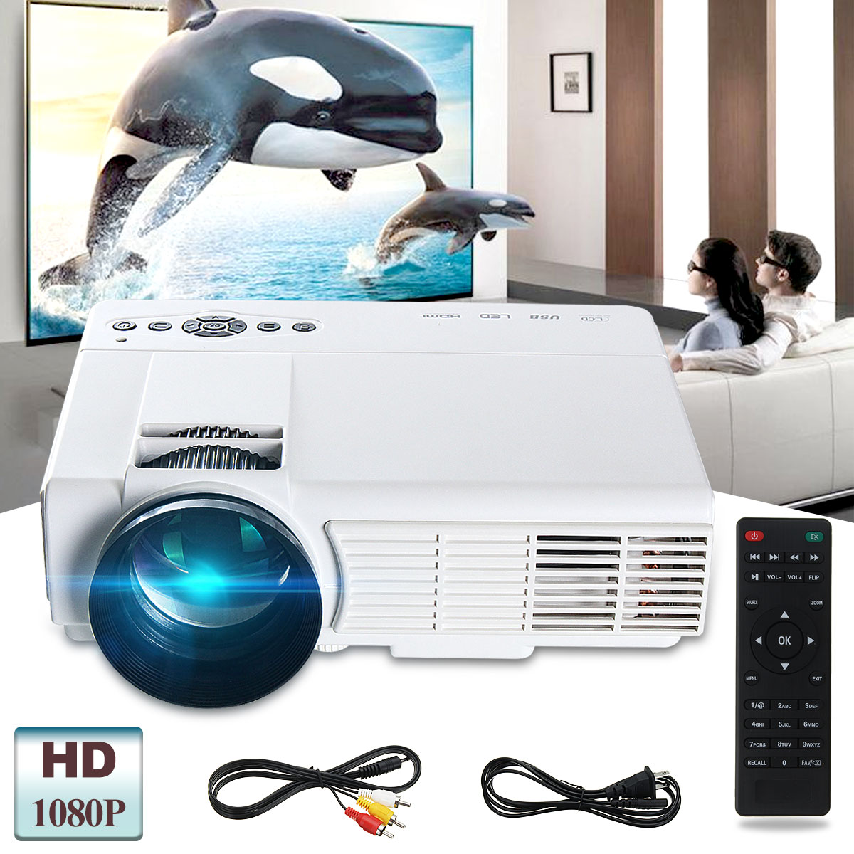 Powerful Q5 3D HD 1080P 3000 Lumens 800 x 480 Resolution Home Theater  Multimedia LED Projector