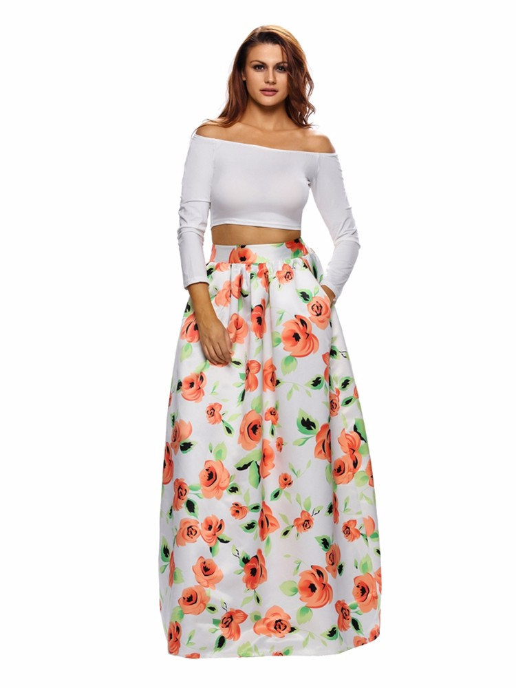 f801eb1eb vintage women floral printed pleated high waist long skirts at ...