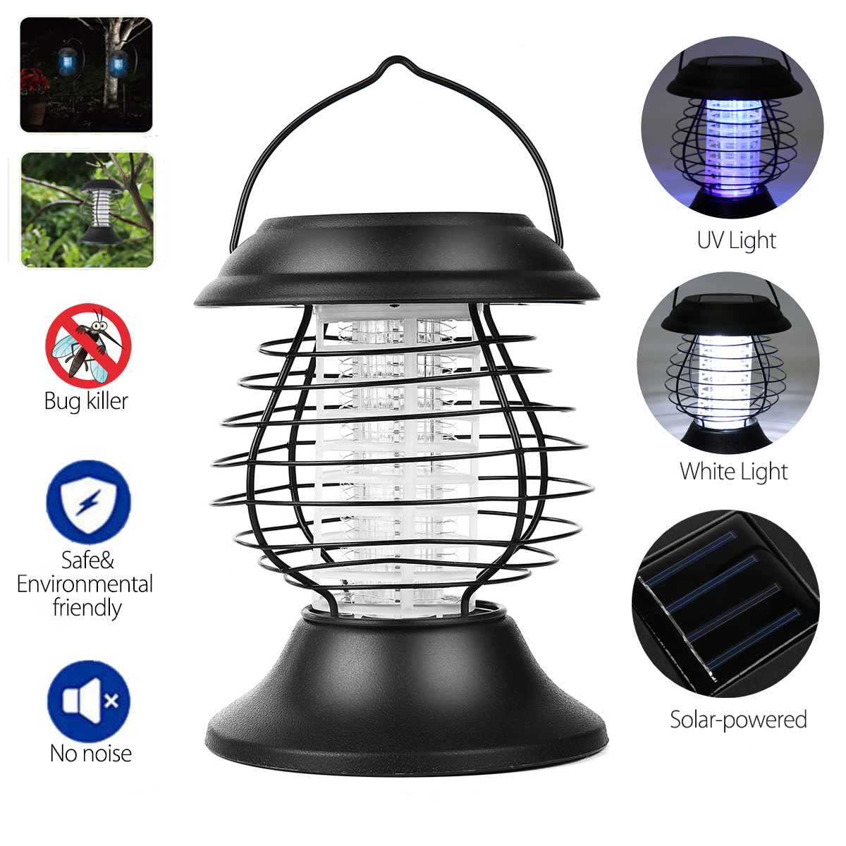 1.2V 0.5W Solar LED Mosquito Dispeller Repeller Mosquito Killer Lamp Bulb Electric Bug Insect Zapper Pest Trap Light For Yard Outdoor Camping
