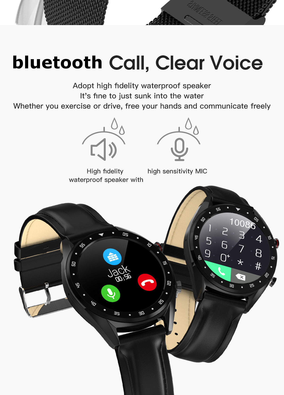 Microwear L7 Edge To Edge Screen ECG Heart Rate bluetooth Call IP68 Music Control Long Standby Smart Watch 23