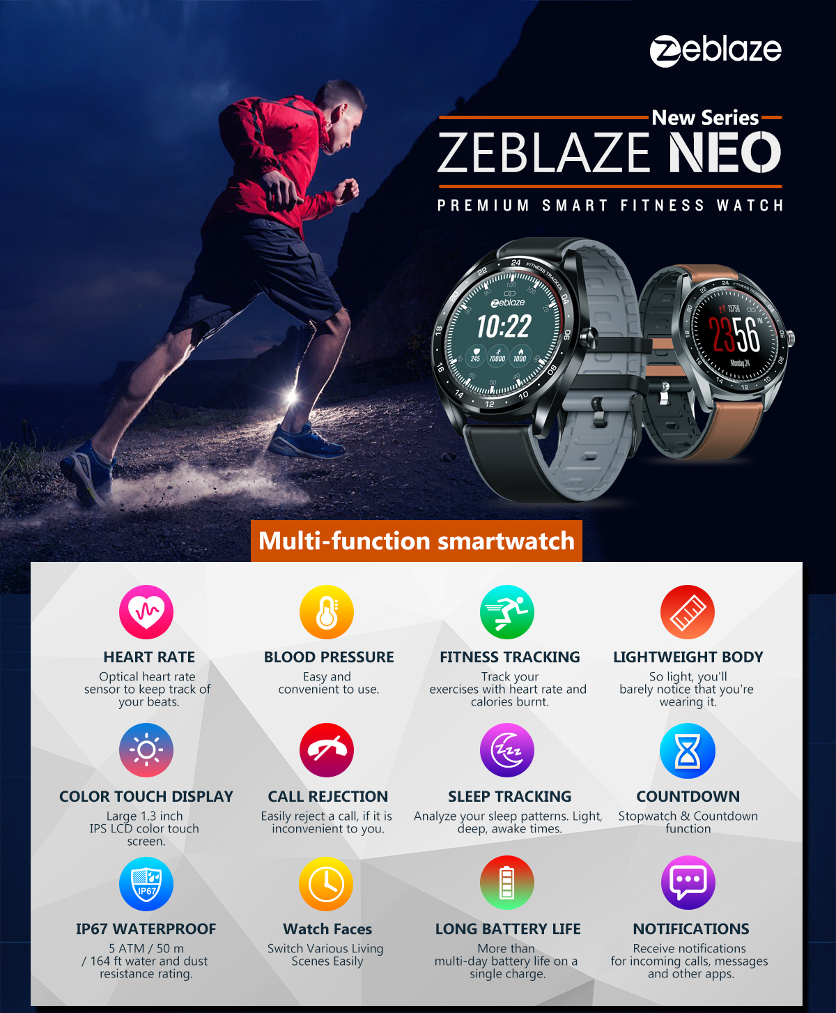 Zeblaze NEO 1.3inch Full-round Touch Screen Blood Pressure Heart Rate Monitor Female Physiological Check Countdown Stopwatch Silicone+Leather Band Smart Watch 15