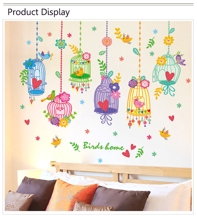 Removable Children Room Wall Stickers Crystal Bottle Countryside Kids  Bedroom Playroom Decoration