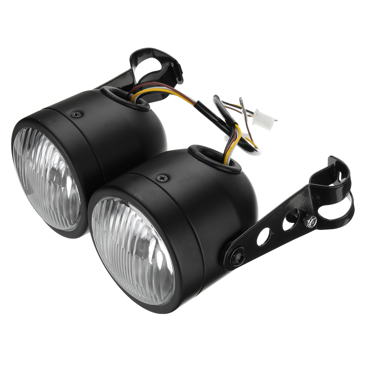 12V H4 35W Dual Twin Motorcycle Headlight Dominator Tracker Streetfighter Headlamp+Bracket
