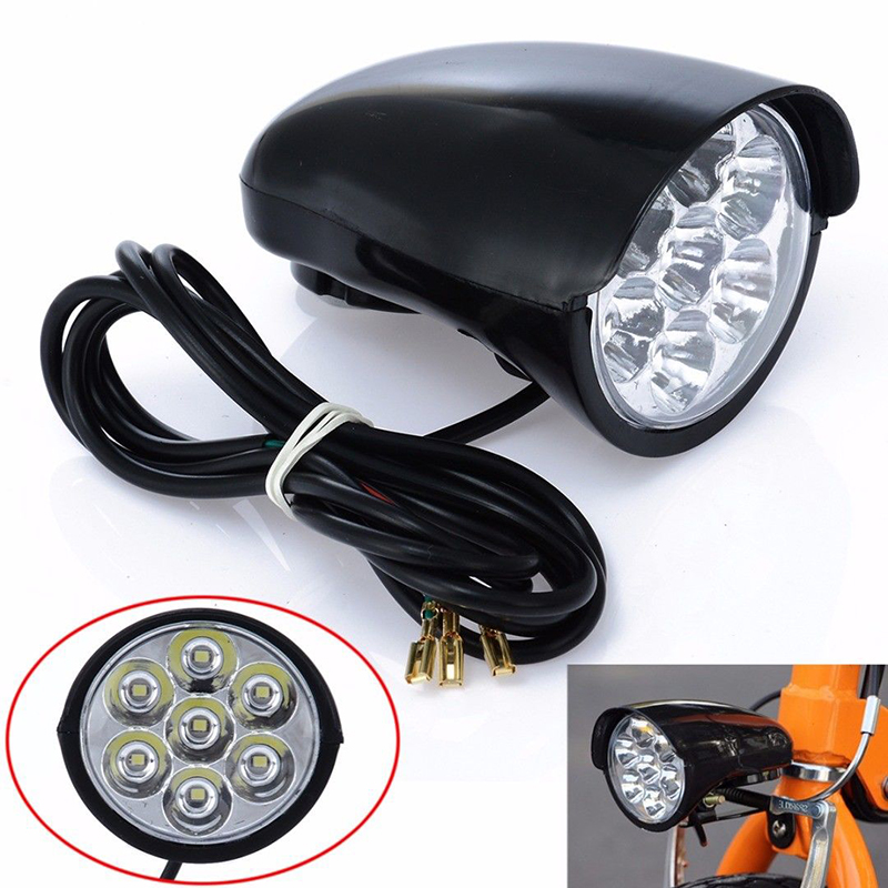 BIKIGHT 7x LEDs Bike Front Light Metal Shell 80db Horn