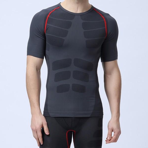 С коротким рукавом мужская профессиональных колготки компрессионные Quick Dry спорта дышащий спортивной бодибилдинг
