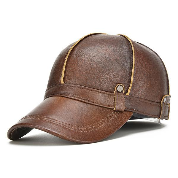 Купить со скидкой Mens Genuine Leather Warm Baseball Cap With Ears Flaps Adjustable Thickened Vintage Hat