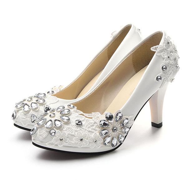 Белые цветочные кружева блестящие кристалл высокие каблуки Свадебное Обувь