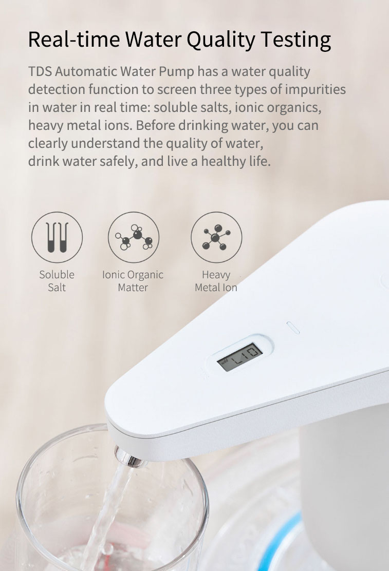 Original Xiaolang Automatic Rechargeable USB Mini Touch Switch Water Pump Wireless Electric Dispenser with TDS Device from xiaomi youpin (White) 18