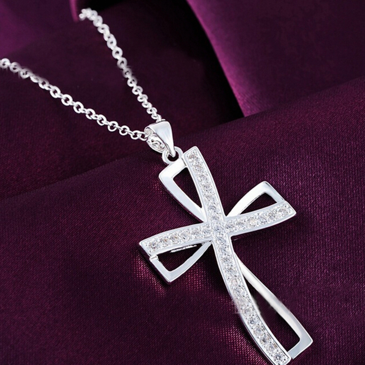 925 Sterling Silver Women Cross Necklace Crystal Chain Jewelry