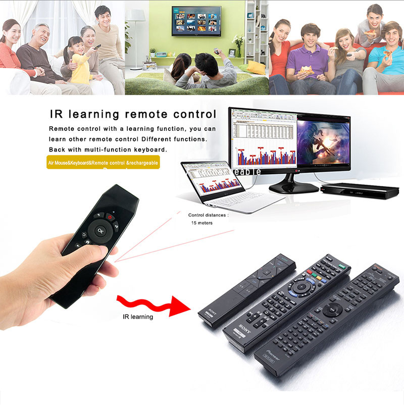T5 2 4G Wireless Air Mouse Keyboard Remote Controll With IR Learning  Function For PC Projector Smart TV