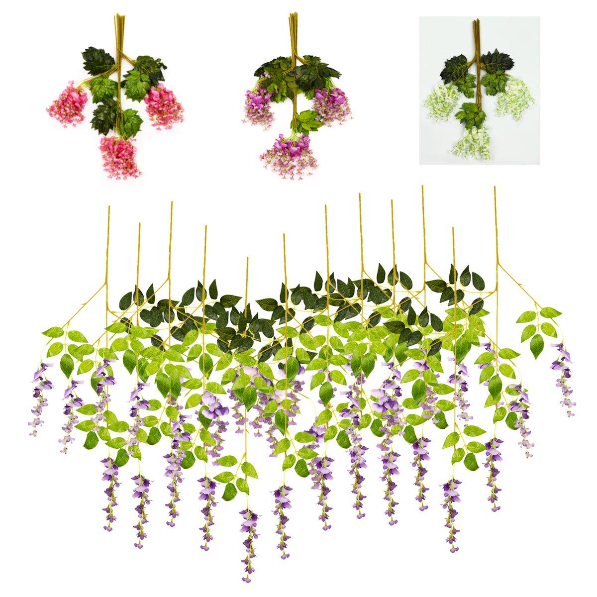 12штИскусственныйшелковыйцветокВистерия Вина Висячие Гарланд Сад Свадебное Украшения