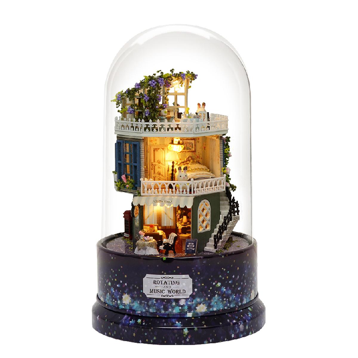 BRICOLAGE Verre Ball Doll Maison Star Dreams Miniature Mobilier Kit Rotary Musique LED Lumière Enfants Cadeau
