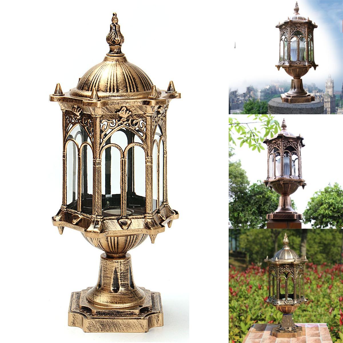 Внешний вид античный латунь пост забор фонарь свет ландшафта сада лампы E27 220v