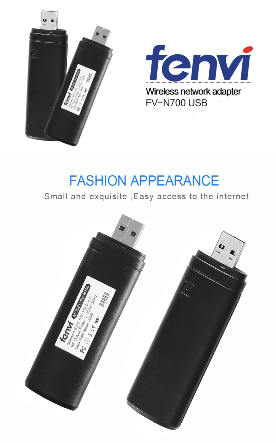 Fenvi Dual band 300Mbps Wireless USB WiFi Lan Adapter Ralink RT3572 Dongle  2 4G/5Ghz WIS12ABGNX WIS09ABGN for Samsung Smart TV
